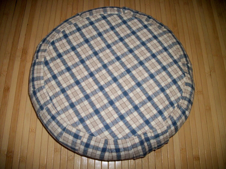 Blue Plaid Zafu Meditation Cushion Zafu Floor Pillow. by ZafuChi