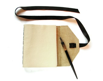 Large Blank Leather Sketchbook with Double Wrap Tie