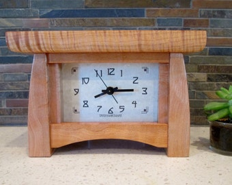 Mantel Clock, Quilted Maple Clock, Bungalow Clock, Craftsman Clock, Quilted Maple, Mantle Clock, Tiger Maple, Arts and Crafts Clock