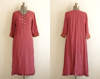 Vintage Faded Red Handmade Tunic Dress w/ Embroidered and Sequin Details