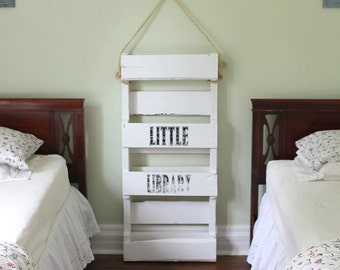 Wooden Bookshelf Kids Solid Wood White Bookshelves Book Shelf Children's Bookcase Recycled Pallet Rustic Shabby Cottage Chic French Country