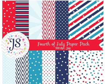 80% OFF - INSTANT DOWNLOAD, Fourth of July digital paper for personal and commercial use