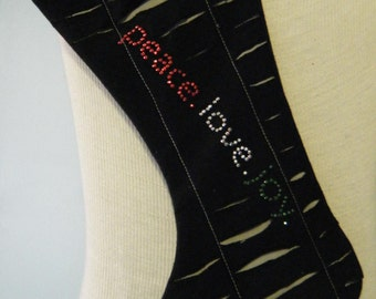 Peace, love, joy upcycled/recycled tshirt Xmas Stocking