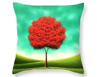 Tree Throw Pillow, Red Tree Art, Decorative Pillow, Nature Art Home Decor, Contemporary Accent Pillow, Sofa Pillow, Designer Couch Cushion