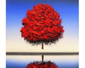 Print of Fall Tree Painting, Photo Print of Red Autumn Tree Art, Contemporary Art Tree Image, Winter Landscape Photo Print of Original Art