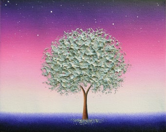 Silver Tree Print, Purple Night Wall Art, Silver Anniversary Gift, Whimsical Art Giclee Print, Purple Night Sky, Modern Nightscape Starlight