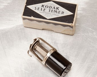 Vintage KODAK SELF TIMER  for old roll film cameras - Original Kodak Art Deco Silver & Black Box