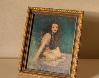 Young Girl with Flowing Hair  - Pictoralist Portrait - soft pastel colors - lithograph in beautiful vintage frame