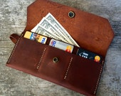 Womens wallet, Brown Leather Wallet, Womens leather wallet, Large wallet, Clutch wallet, Leather wallet, Leather clutch, The Ingalls