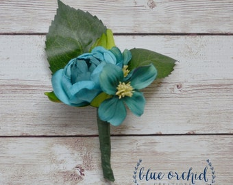 Turqouise, Teal Boutonniere, Wedding Boutonniere, Buttonhole, Blue Boutonniere