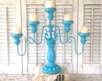 Turquoise Blue Vintage 5-Arm Candelabra - Cottage Chic Table Top  Candle Holder - Centerpiece