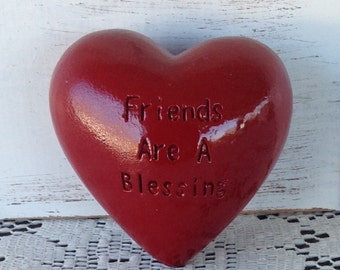 Deep Red Heart Rock w/Etched Phrase - Friends Are A Blessing