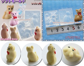 SALE Cat facing Flexible 3d mold for resin and clay