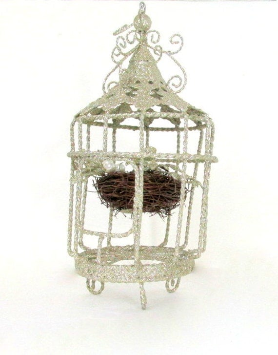 SALE Vintage Hanging Bird Cage with Bird by ...
