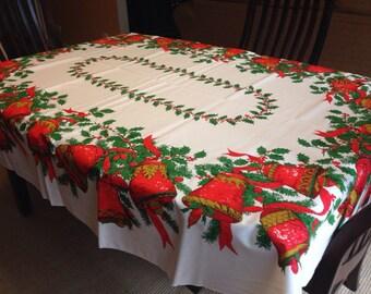 "Christmas Holiday -Table Cloth - Fallani & Cohn Inc. Bells and Holly - Oval 85"" x 60"""