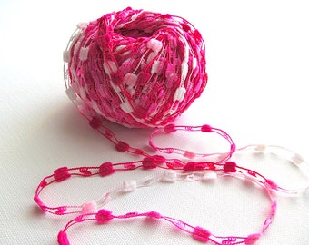 2 Skeins Lot Ladder Ribbon Pom - Pom Yarn Pink White Nylon Lace Scarf Necklace Accessories Bulk Yarn