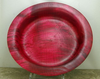Food safe finish Curly Maple fruit/nut bowl dyed Red,
