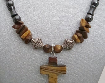 Magnetic Hematite Necklace with Tiger Eye Cross