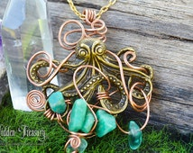 Neptune Gemstone Necklace- handmade rustic copper wire wrapped green amazonite ocean octopus pendant jewelry