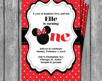 Classic Minnie Mouse Birthday Party Invitation
