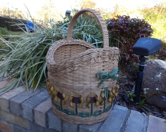 Sunflower Extra Large Round Basket Handwoven Basket