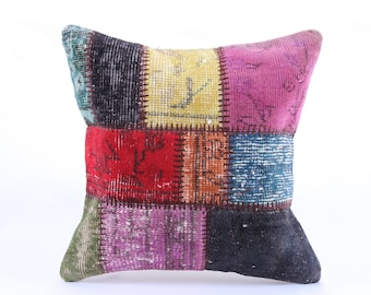 Patchwork Pillow, Modern Bohemian, Home Decor,Turkish Kilim, Pillow Cover, Tribal Pillow,Vintage Kilim Pillow, Designed pillowcases, carpet