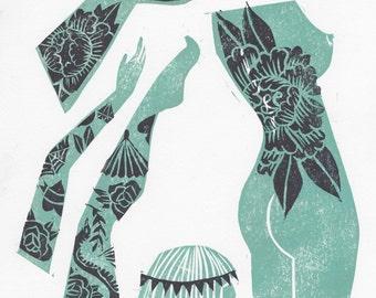 Tattooed bodies - lino print AP