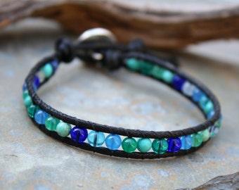 Ocean Bracelet, Single Wrap Bracelet, Vegan Wrap Bracelet, Beaded Wrap, Vegan Jewelry, Ocean Colors, Gifts under 20, Gifts for her