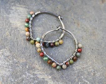 Sterling Silver Hoops, 3/4 inch hoops, Desert Calico, Oxidized Silver, Small Hoops, Petal Hoops, Stone Hoops, Earth Tones, Boho Jewelry