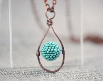 Turquoise Beaded Bead Pendant  Copper Pendant Modern Minimalist Beadwork Jewelry Rustic Pendant Metalwork Pendant , Gift for her