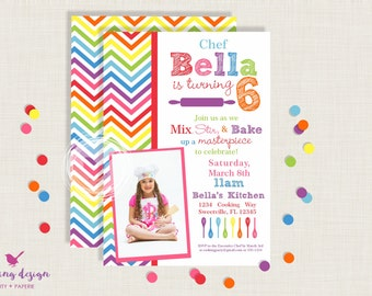 Cooking + Baking Invitation Set // Personalized,  Printable, Thank You Cards, Address Labels, Baking  Party, Cooking Party