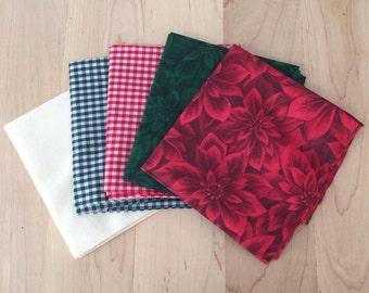Red Green Christmas Cotton Fabric 5 Coordinating Fat Quarters Poinsetta Flower