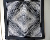 Vintage 1970s polyester scarf with bold psychadelic design black and white optical illusion 20 x 20 inches