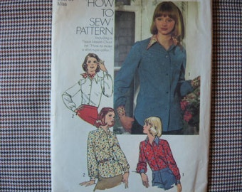 vintage 1970s simplicity sewing pattern 6517  misses blouse size 12