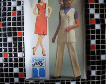 vintage 1970s simplicity sewing pattern 9461 misses super jiffy dress or tunic and pants size 8