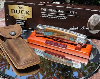 Buck 110 Chairman Series Fully Customized, Burled Cherry Wood with Turquoise Inlay Handles, Wood Stand, Sheath, FREE SHIPPING