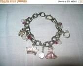 princess charm bracelet, charm bracelet, childrens charm bracelet, estate jewelry