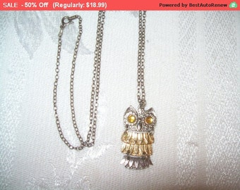 SALE Owl necklace, owl costume, Italy sterling chain, owl pendant necklace, owl pendant, 30 inch chain