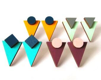 Geometric Triangle Stud Earrings - Abstract design - contemporary jewellery - Wooden Earrings - Laser cut