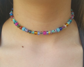 New African Glass and Turquoise Beaded Choker Necklace, Trendy Jewelry, Beach Vibe, Choker, Bohemian Jewelry
