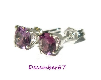 Alexandrite Earrings, 6mm Studs, Color Changing Stones