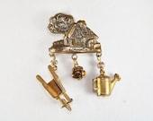 1940s Era Garden Cottage Mill Brooch Pin Vintage Spring Brooch