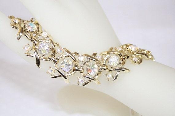 Coro Aurora Borealis Rhinestone Bracelet Vintage Wedding Any Occasion Maximum Bling