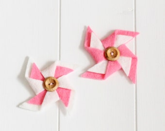 Handmade Felt Pinwheel Embellishments - In a variety of colours, Scrapbook Embellishments, Cardmaking Embellishments