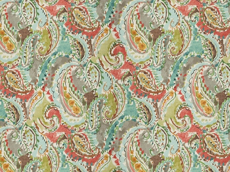 Modern Paisley Upholstery Fabric Coral Teal Fabric For