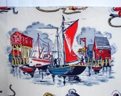 Vintage Nautical fabric Fishing Lobster Boats