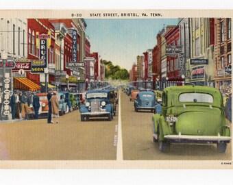 State Street Bristol VA TENN vintage linen pc