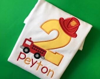 Fire Fighter birthday shirt, Fire Truck, fireman birthday, fire engine