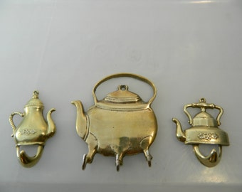Vintage Brass Hooks Kitchen Hooks Brass Teapot Hooks set of 3 Kitchen Decor