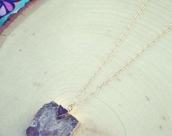 Druzy Necklace Amethyst Necklace Gemstone Jewelry Gold Necklace Drusy Necklace